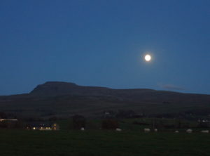 Moon over Ingleborough